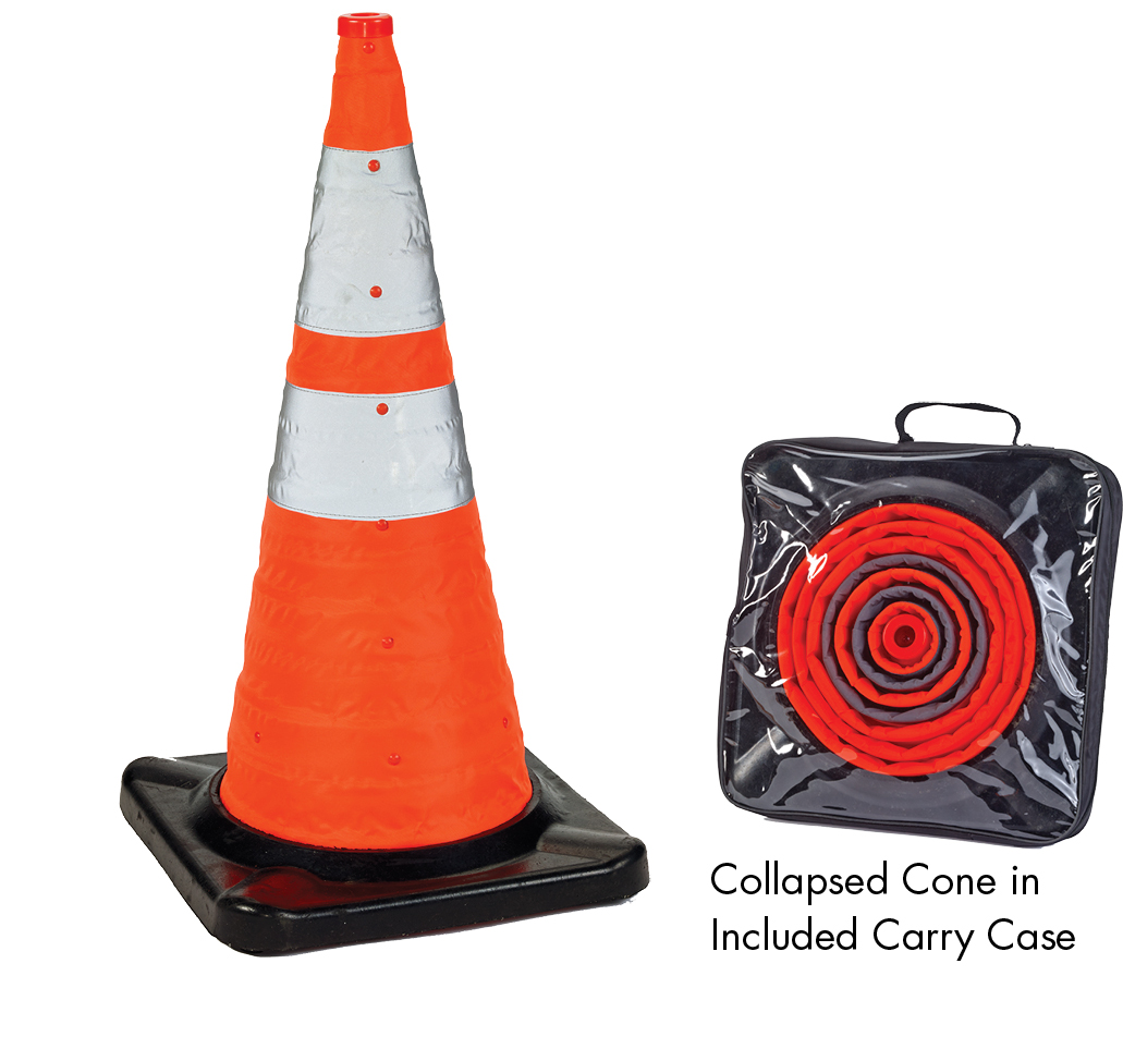 28 Quot Deluxe Collapsible Traffic Cones With Rubber Base